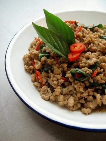 thai basil: Stir Fried Minced Pork with Thai Basil Stock Photo