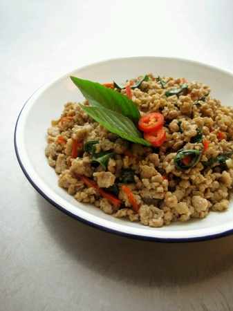 minced: Stir Fried Minced Pork with Thai Basil Stock Photo