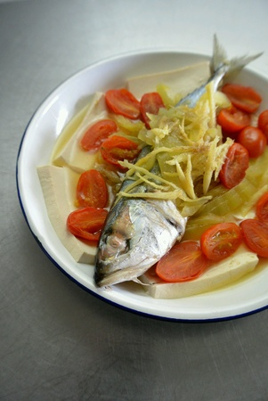 style: Chinese Food Teochew Style Steamed Fish Stock Photo