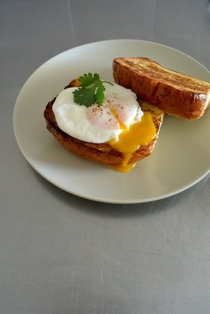 poached: Poached Egg on Toast Bread Stock Photo