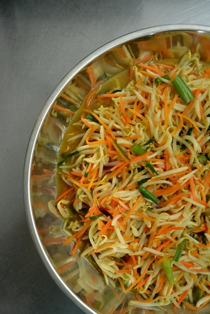 beansprouts: Chinese Food Stir Fry Beansprout with Carrots and Spring Onion
