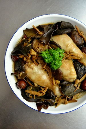 Chinese Food Chicken Steamed with Golden Lily Buds Mushroom Wood Ear Fungus