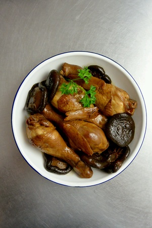dinnertime: Chinese Food Chicken and Mushrooms Braised in Soy Sauce