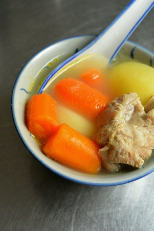 dinnertime: Chinese Food Carrot and Potato ABC Soup
