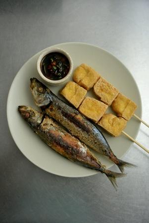 dinnertime: Asian Malaysia Food Deep Fried Sardine Fish and Tofu with Kicap Lemak Manis Dipping Sauce