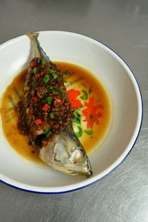 Chinese Food Fish Steamed with Bean Paste Stock Photo