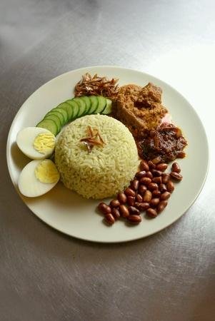dinnertime: Malaysia Food Nasi Lemak Pandan with Beef Rendang Stock Photo