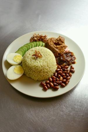 Malaysia Food Nasi Lemak Pandan with Beef Rendang Stock Photo