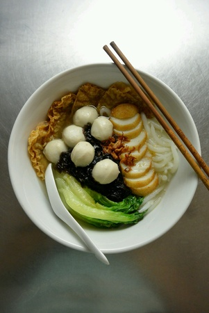dinnertime: Chinese Malaysia Food Fishball Noodles Soup Stock Photo