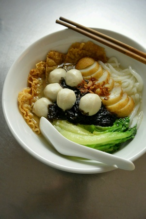 Chinese Malaysia Food Fishball Noodles Soup Stock Photo