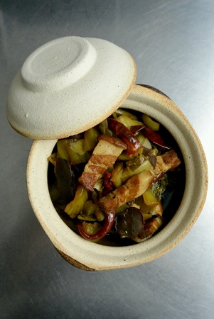dinnertime: Chinese Food Spicy Sour Mustard Greens with Roast Pork Stock Photo