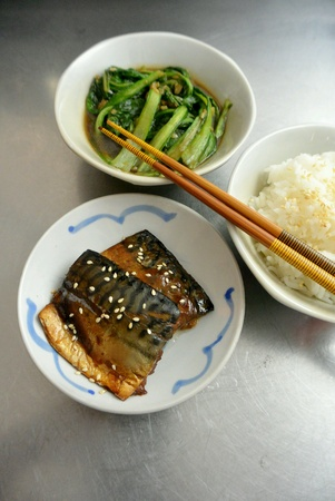 dinnertime: Asian Food Grilled Teriyaki Mackerel Fish Fillet with Stir Fried Vegetables and Rice Stock Photo
