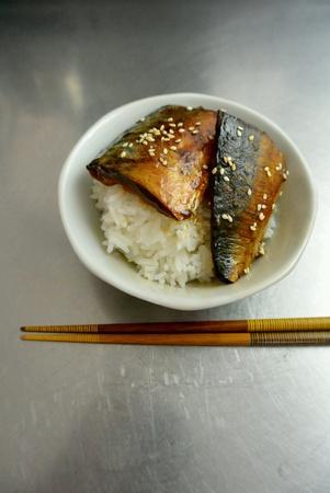 dinnertime: Asian Food Grilled Teriyaki Mackerel Fish Fillet with Rice
