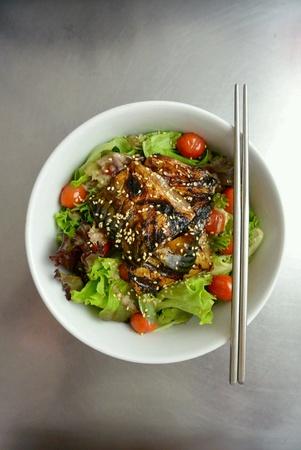 Healthy Grilled Teriyaki Mackerel Fish Salad