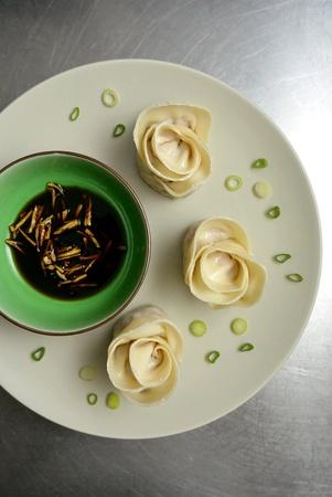 dinnertime: Chinese Food Rose Shaped Pork Dumplings Potstickers Stock Photo
