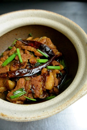 Malaysian Chinese Dish Clay Pot Pork Belly with Salted Fish