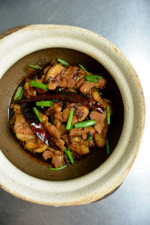 pot belly: Malaysian Chinese Dish Clay Pot Pork Belly with Salted Fish
