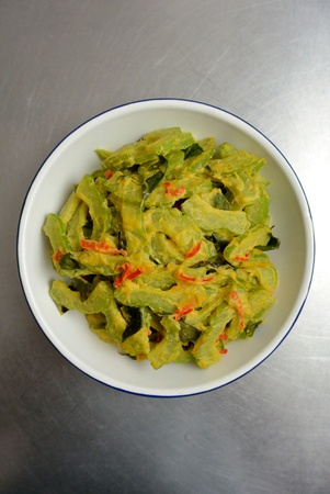 Malaysian Chinese Food Bittergourd Bittermelon Stir Fried with Salted Egg