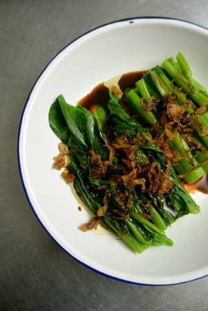 Malaysian Chinese Food Blanched Steamed Mustard Greens Vegetables with Soy Sauce and Fried Shallots