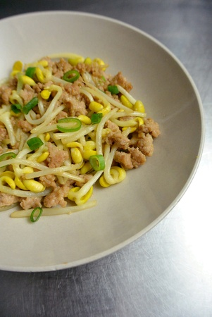 Chinese Food Bean Sprouts  Stir Fried with Minced Pork