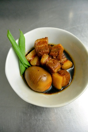 Chinese Food Braised Black Vinegar Pork Belly with Egg Stock Photo