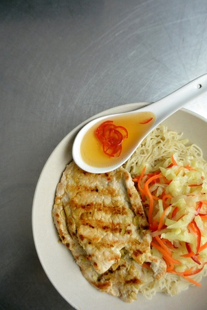 Asian Food Grilled Pork Chop & Asian Slaw with Rice Vermicelli Noodled