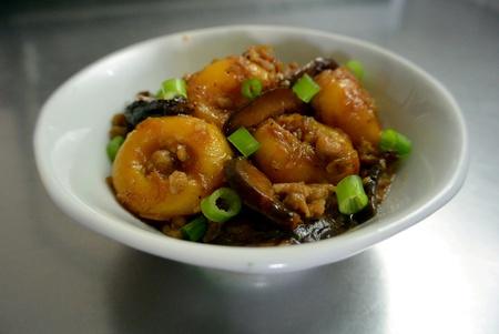 Malaysian Chinese Food Pumpkin Abacus Seed Dumpling Stir Fried with Minced Pork Shiitake Mushrooms