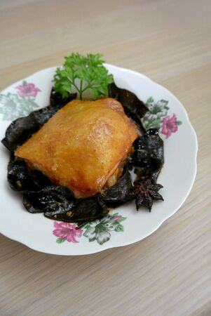Malaysian Chinese Food Chicken & Wood Ear Fungus with Red Preserved Bean Curd Nam Yue