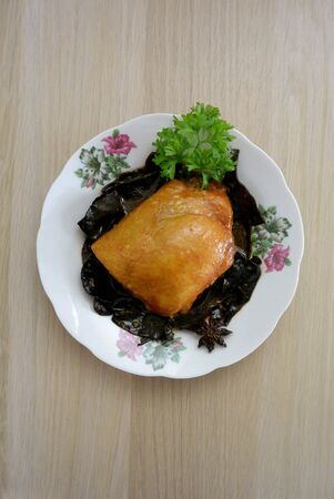 Malaysian Chinese Food  Chicken & Wood Ear Fungus with Red Preserved Bean Curd Nam Yue 版權商用圖片