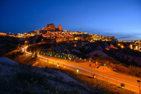 Long exposure image Cappadocia at dusk This is a popular place in Turkey.