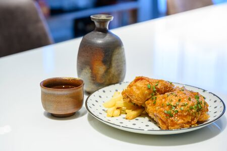 alcohol, appetizer, background, breakfast, breast, chicken, closeup, cooked, cooking, crispy, cuisine, cup, delicious, diner, dining, dinner, dish, eat, enjoy, fast, fat, food, fresh, fried, gourmet, homemade, hot, izakaya, jar, junk, leg, lunch, meal, meat, menu, nutrition, plate, potato, prepared, restaurant, roasted, sauce, set, slice, snack, spicy, tasty, traditional, vegetable, white