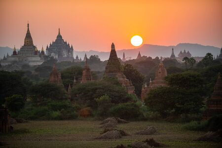 The land of pagodas at sunset, Bagan is an ancient city and it has been certified by UNESCO as a World Heritage Site. Located in Mandalay Region, Myanmar