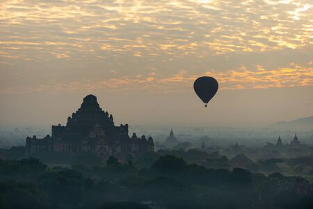 The land of the pagoda in the morning has fog and balloons. Bagan is an ancient city and has been recognized by UNESCO as a World Heritage Site. Located in Mandalay Region, Myanmar