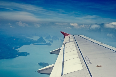 filming point of view: Flying from Phuket to Phi-Phi on a Red Plane