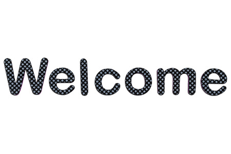 A welcome banner made of rubber letters photo