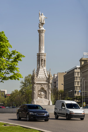 obelisc: Plaza Colon in Madrid, Spain, is a bustling place at the heart of the Paseo de la Castellana, the spinal cord of the city