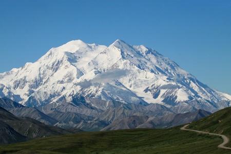 denali: A winding road leading to Mt  McKinley in Denali National Park, Alaska