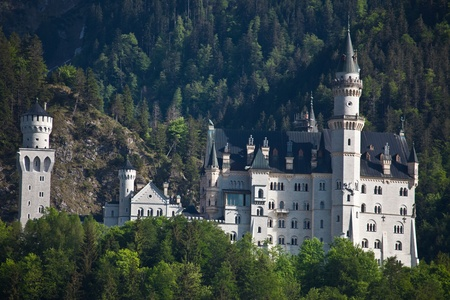 schloss: Schloss Neuschwanstein, in German, the palace was commissioned in the 19 th century by Ludwig II of Bavaria as a retreat. It is said to be the most photographed building in Germany.