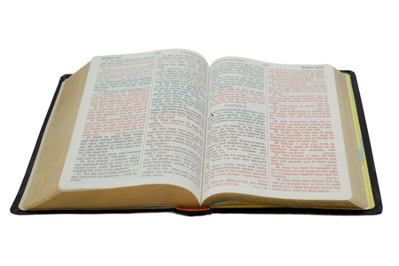 Photo of an open Holy Bible Stock Photo
