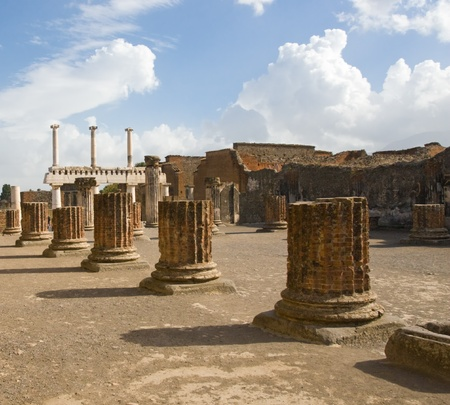 a portion of the ruins at the ancient city of Pompeii. The city was destroyed by the eruption of the volcano, Mount Vesuvius in 79 AD