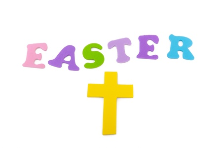 This is the word Easter written in different colored letters with a cross