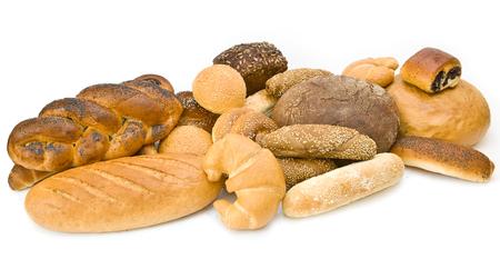 Assortment of baked goods on white