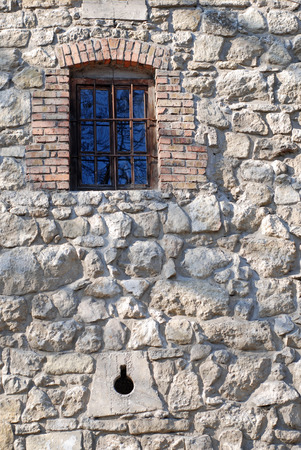transom: Window on the old wall Stock Photo