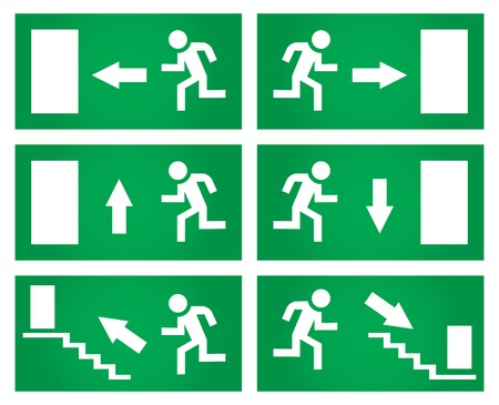 firealarm: Emergency exit signs set. Vector illustration.