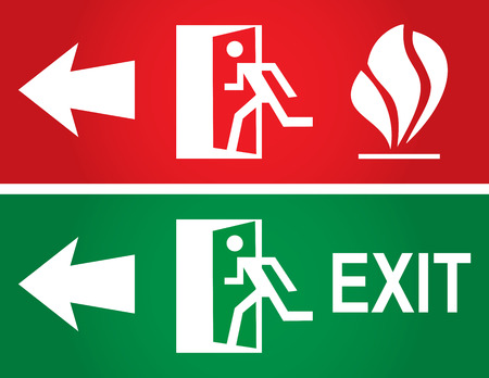 going green: Emergency fire exit door and exit door. Vector sing.