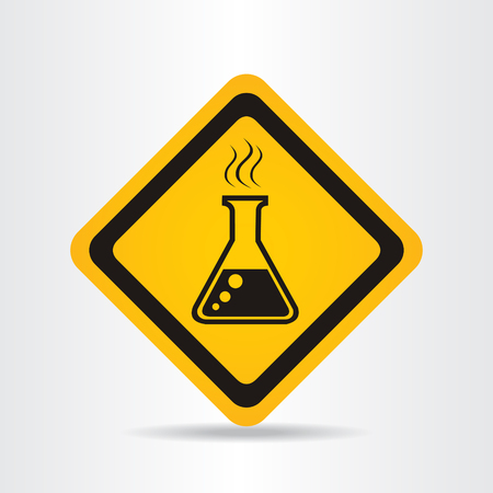 caution chemistry: Danger chemicals. Vector sign.
