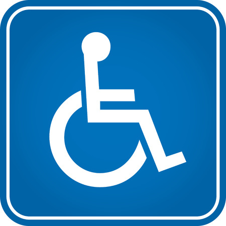 Blue square handicapped sign with wheelchair
