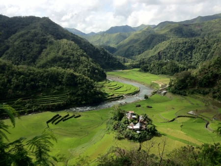 treed: A small village sits in a valley
