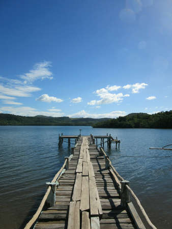 wooden dock: A wooden dock in the bay