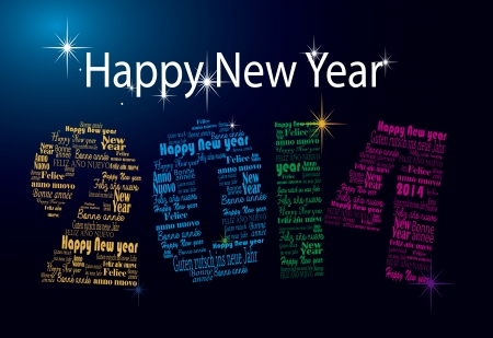 vector 2014 number with happy new year in many languages Vector